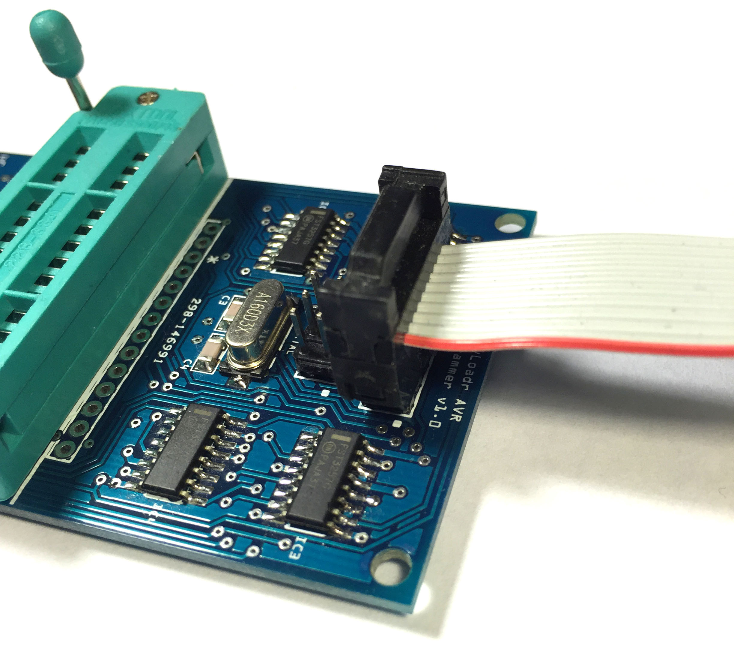 6 and 10-pin ICSP headers for programming other boards (ribbon cable not included).