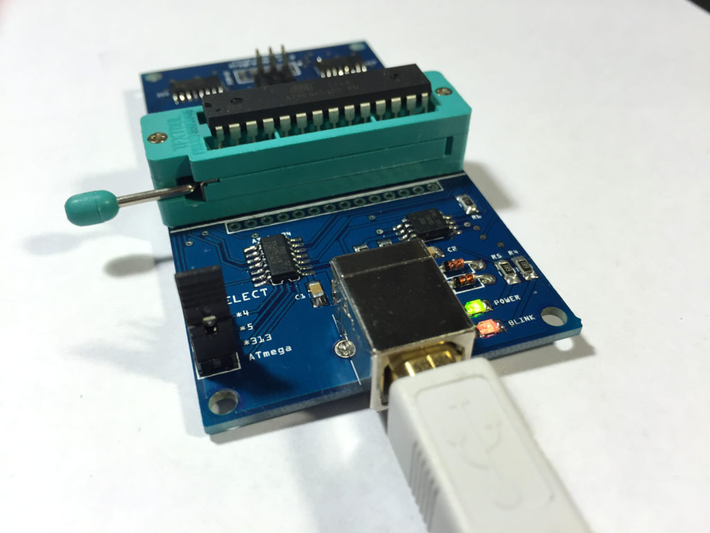 USB connector, power LED, and a Blink LED for testing your microcontrollers.